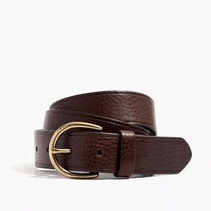 MADEWELL Medium Perfect Leather Belt Dark Chestnut